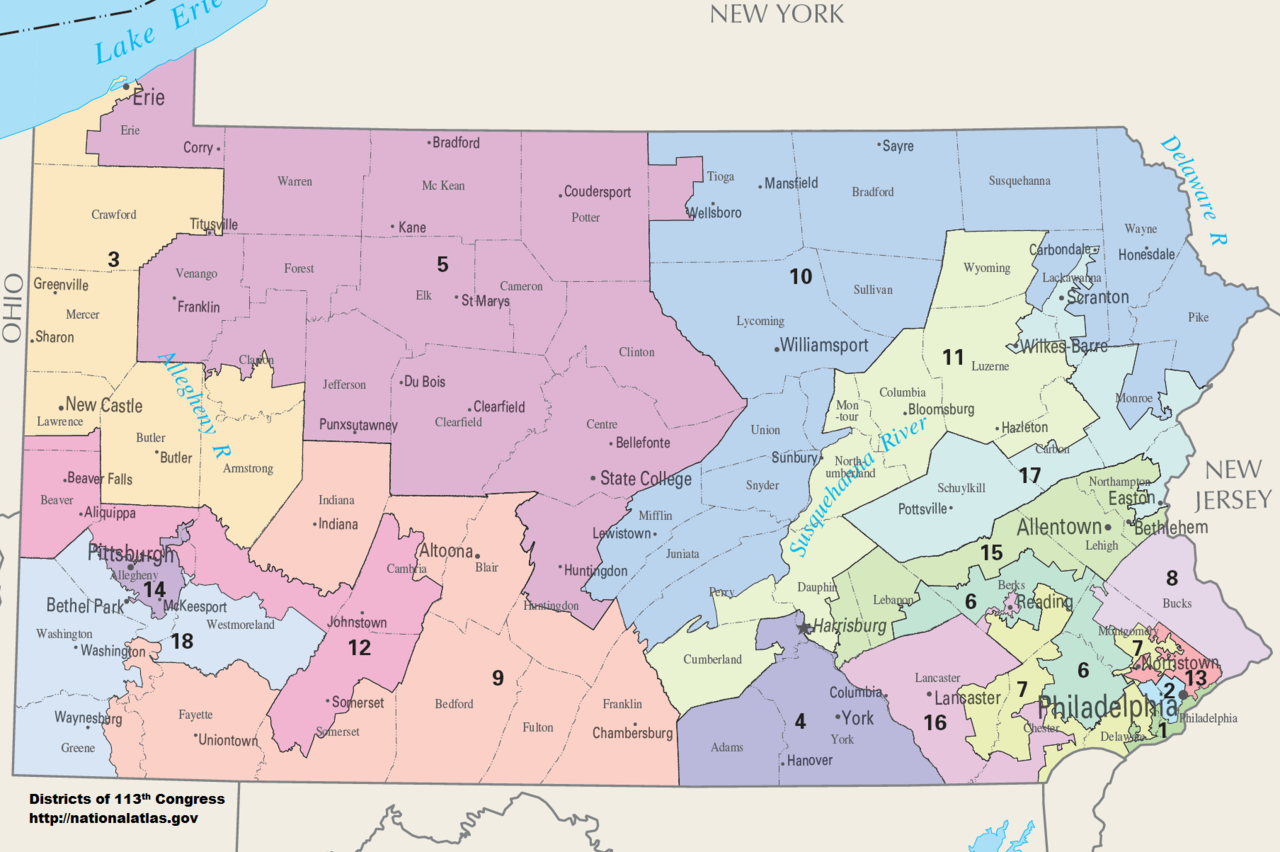 Existing PA congressional map Draw It Yourself