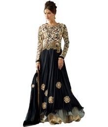 Indiweaves Black Embroidered Georgette Anarkali Dress Material