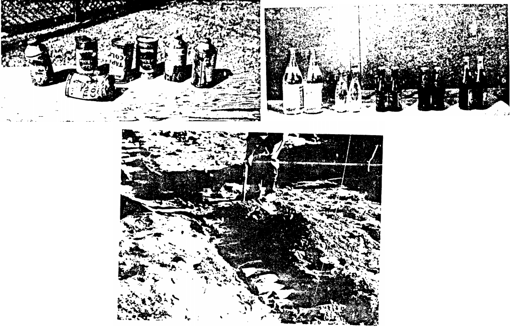 Top left, cans that didn't survive the explosion. Top right, bottles that did. Bottom, scientists lay bottles in the ground. AEC photos