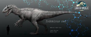 Indominus Rex from Jurassic World, featuring DNA in the background