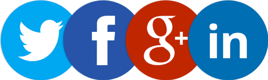 image of the twitter, facebook, google + and Linkedin logos