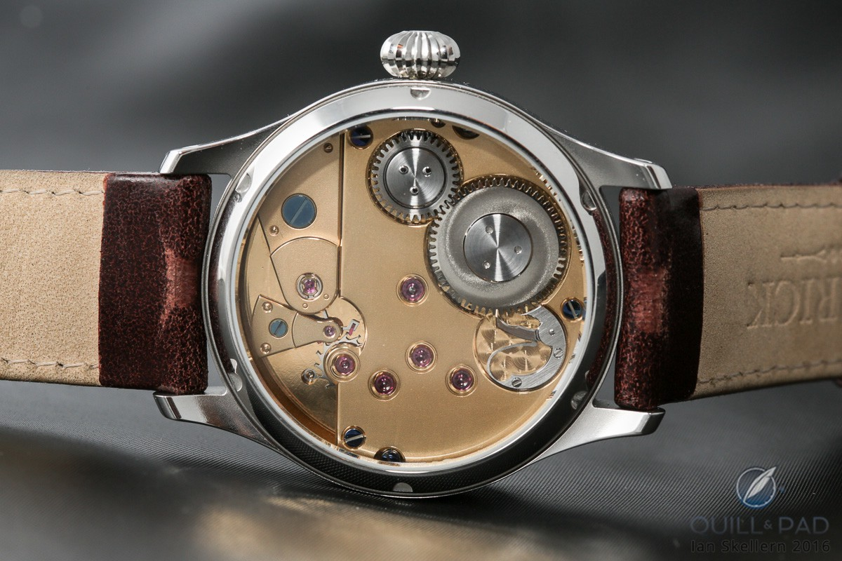 The UT-G01 movement of the Garrick Portsmouth comes with either a gold or silver frosted finish
