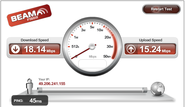 Download speed of 18mbps and upload of 15mbps, what can one ask for !