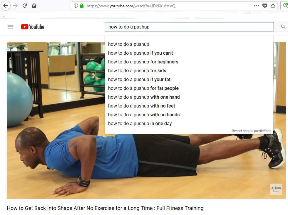 How to get fit on a low income youtube videos autocomplete
