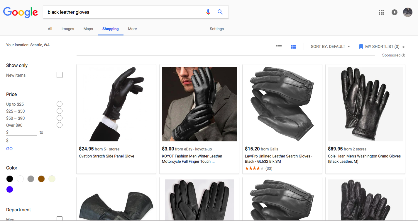 """747f84be31 ... """"black leather gloves"""", will be displayed as a grid, complete with the  product details, price, a link to the website, (sometimes) available  inventory, ..."""