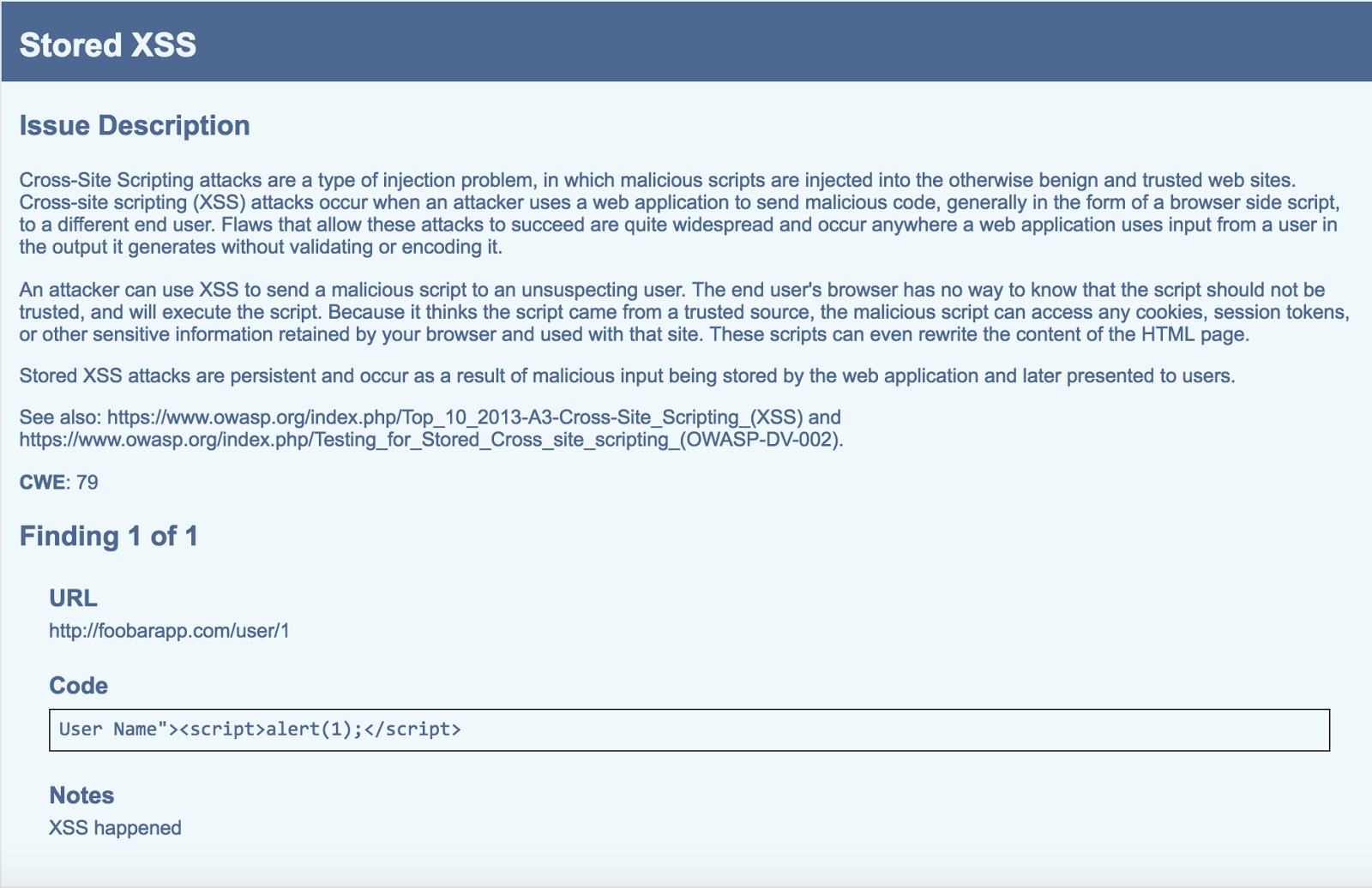 An Example Of A Report Generated By Vulnreport