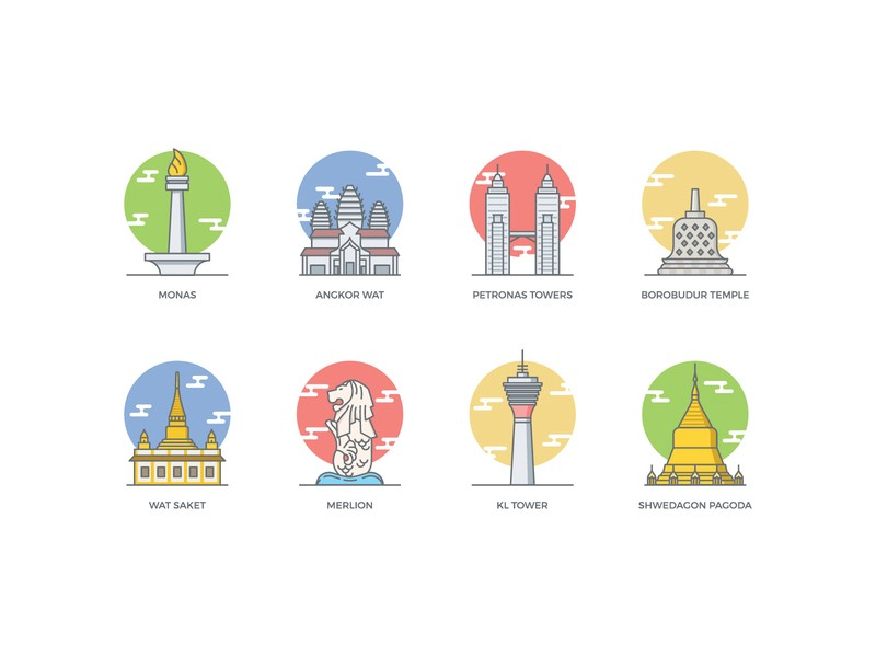 asia-landmarks-icons-by-vecteezy