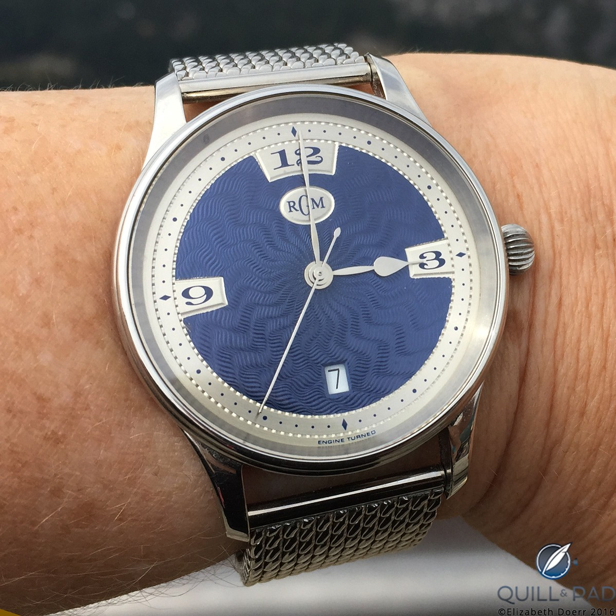 Close look at the guilloched dial of the RGM Reference 151BE