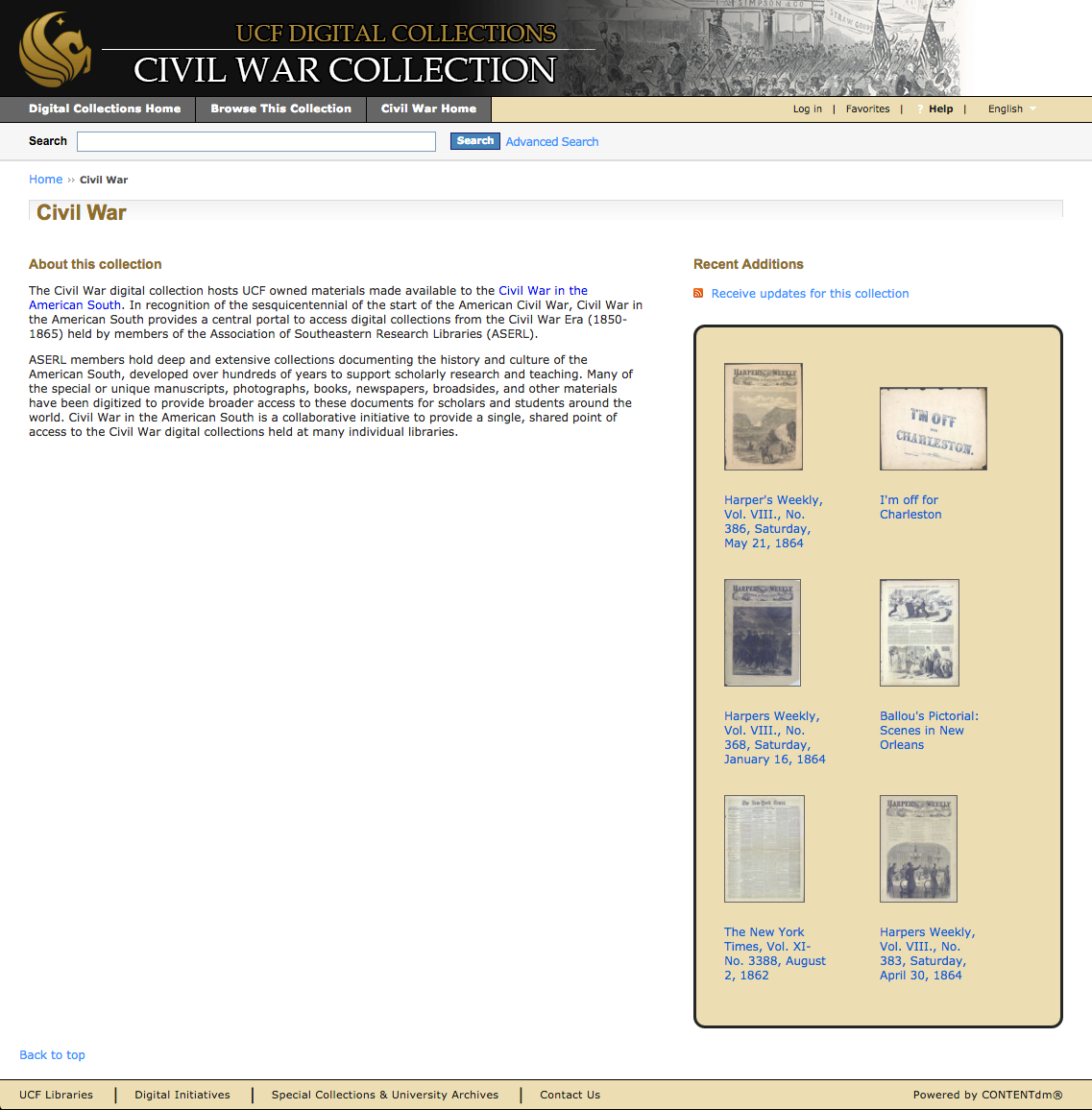 Landing page for the UCF Civil War Collection