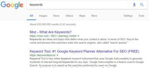 Google search results showing bolded text in meta descriptions