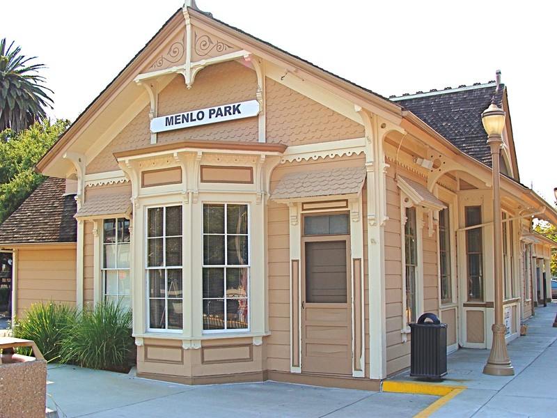 The Victorian-styled Menlo Park train station offers access to neighboring cities.