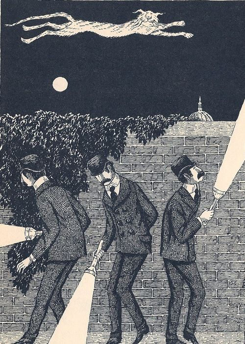 """Macavity: The Mystery Cat"", from T.S. Eliot's Old Possum's Book of Practical Cats, illustration by Edward Gorey (1982)"