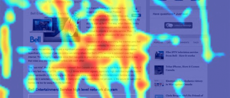 an image of a heatmapped website