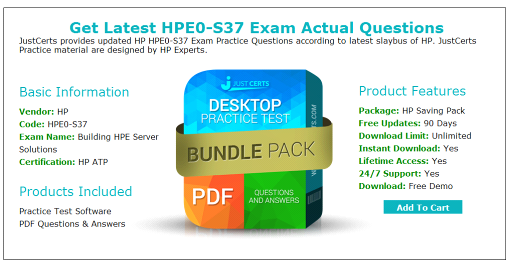 HP Building HPE Server Solutions HPE0-S37 Exam Practice Test Questions