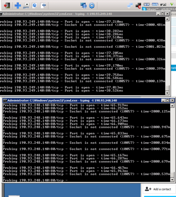 Narko's screen as he's in the middle of launching attacks on Spamhaus. A portion of his Skype address at the time can be seen in the upper right corner of the screenshot.