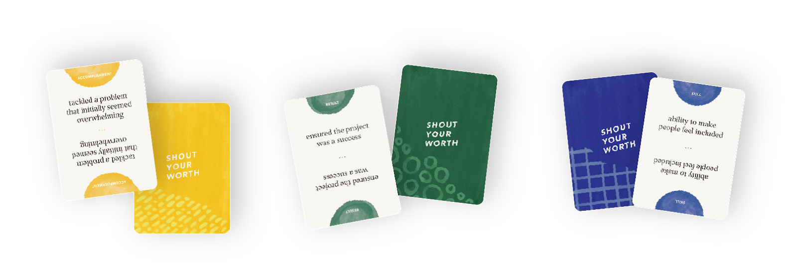 Examples of Accomplishment, Skill, Result cards.