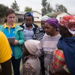 Sophie interviewing a group of community members in Mukuru about the squat support prototypes