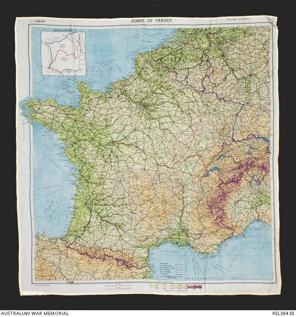 A cloth map of France issued to pilots and soldiers for escape and evasion use during the D-Day invasion. Australian War Memorial photo.