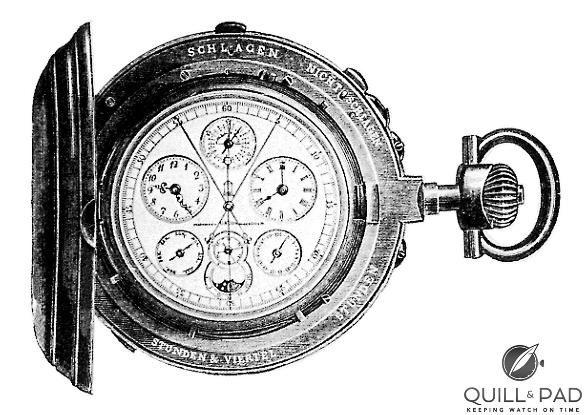 The Union Universaluhr, which came forth from Johannes Dürrstein's company, was for many years the most complicated pocket watch in the world with 18 complications