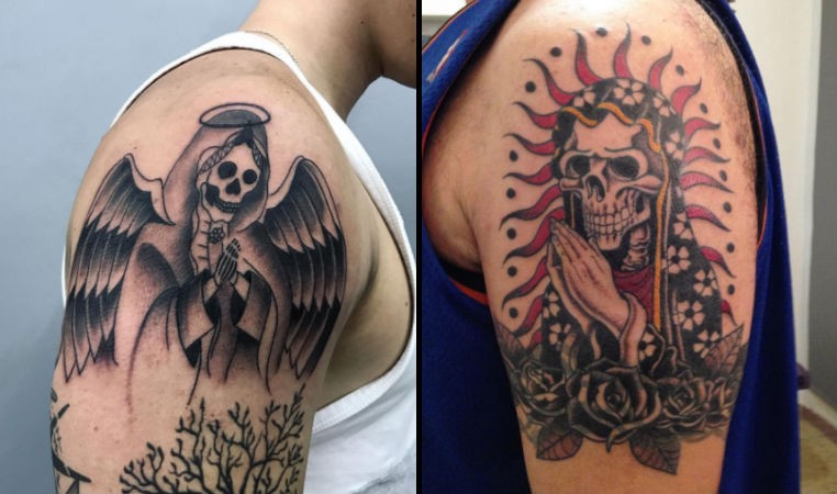 these people dgaf and their santa muerte tattoos prove it. Black Bedroom Furniture Sets. Home Design Ideas