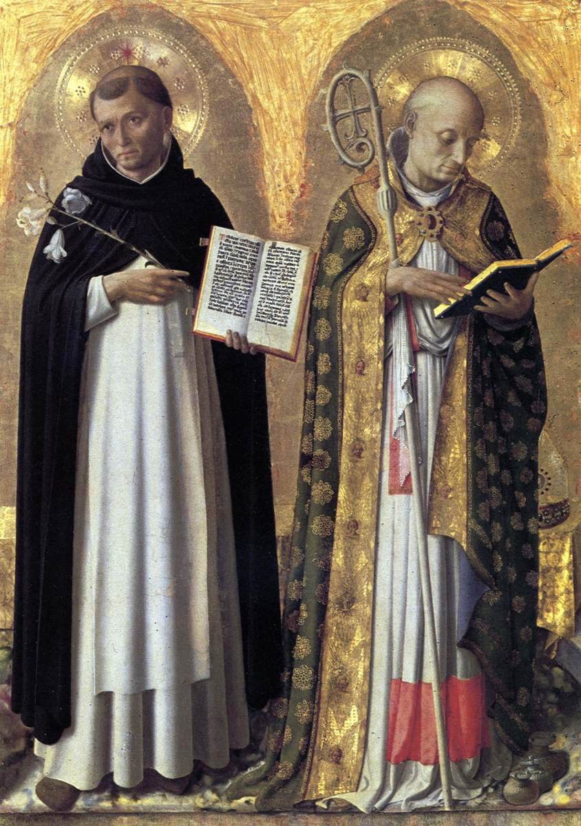 Fra Angelico, Lefthand Panel of Perugia Altarpiece Triptych - St. Dominic and St. Nicholas of Bari, 1447-47, tempera and gold on panel, 95 x 73 cm, Galleria Nazionale dell'Umbria, Perugia