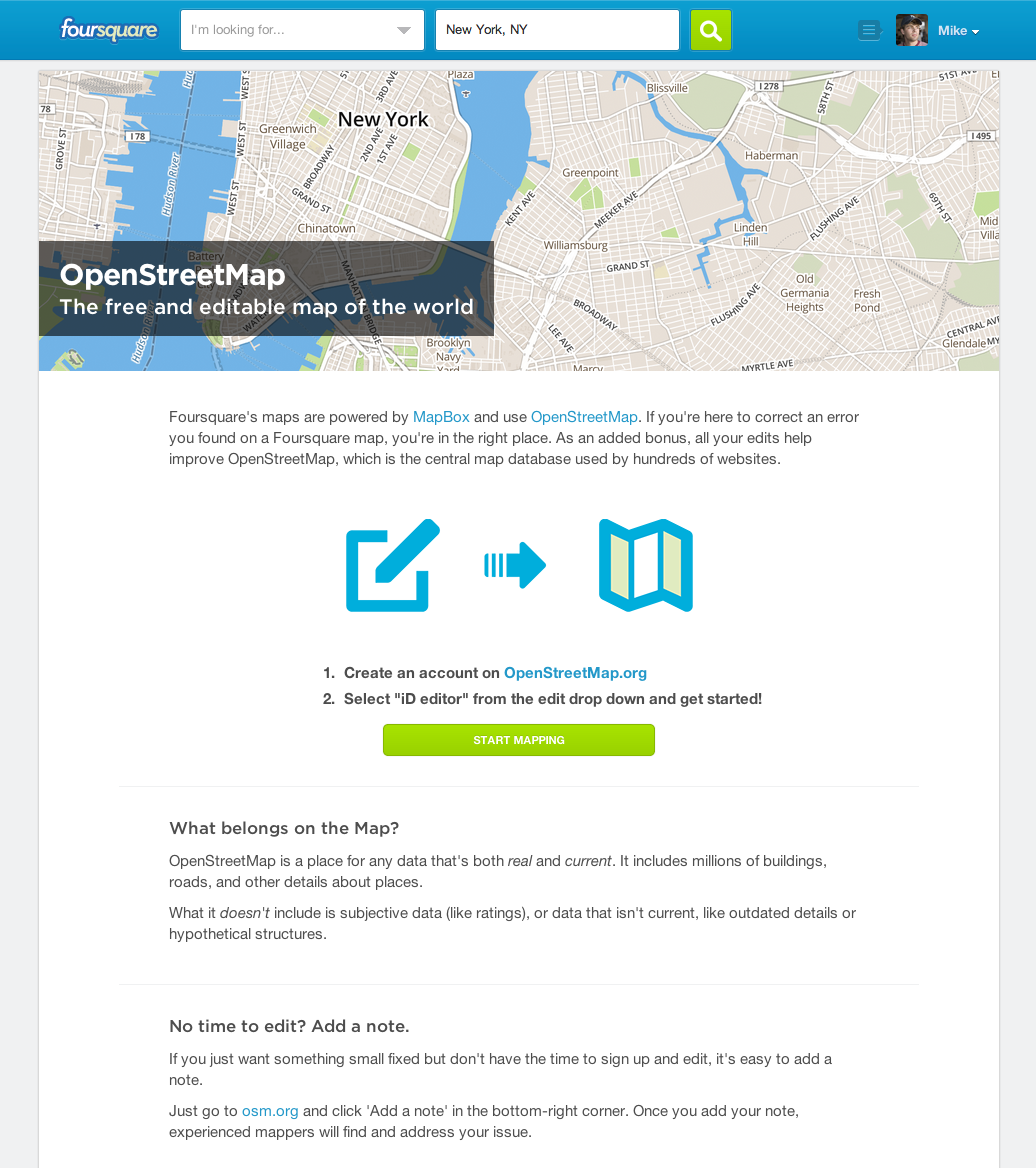 Connecting Communities: Edit OpenStreetMap Directly from Foursquare