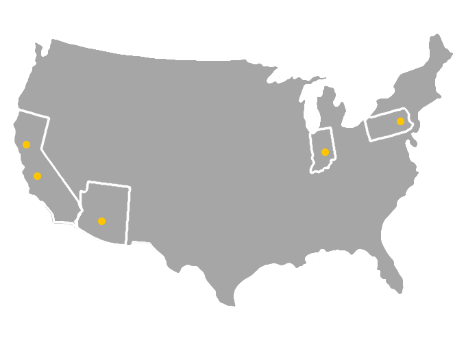 Map of where we product our products.