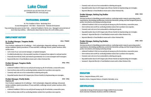 a great resume template