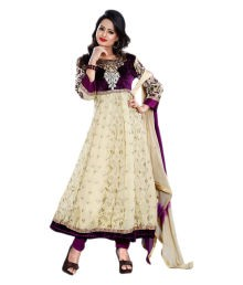 Aksh Fashion Beige Embroidered Faux Georgette Anarkali Dress Material