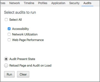 Screenshop of Chrome Dev Tools 'Audit' tab with accessibility audit option available