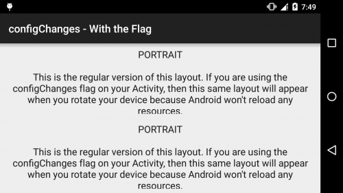 Android - configChanges - With the Flag - Landscape