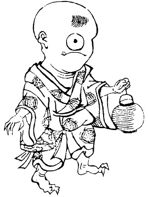 Hitotsume-Kozo, one-eyed boy yokai carrying a lamp