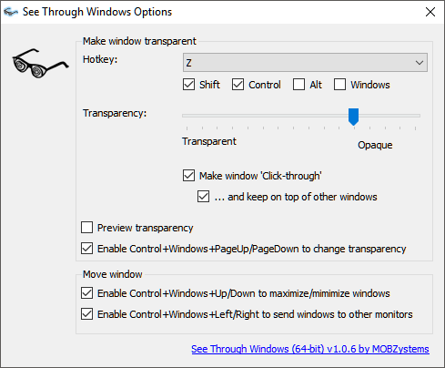 """Main options panel for """"See Through Windows"""""""