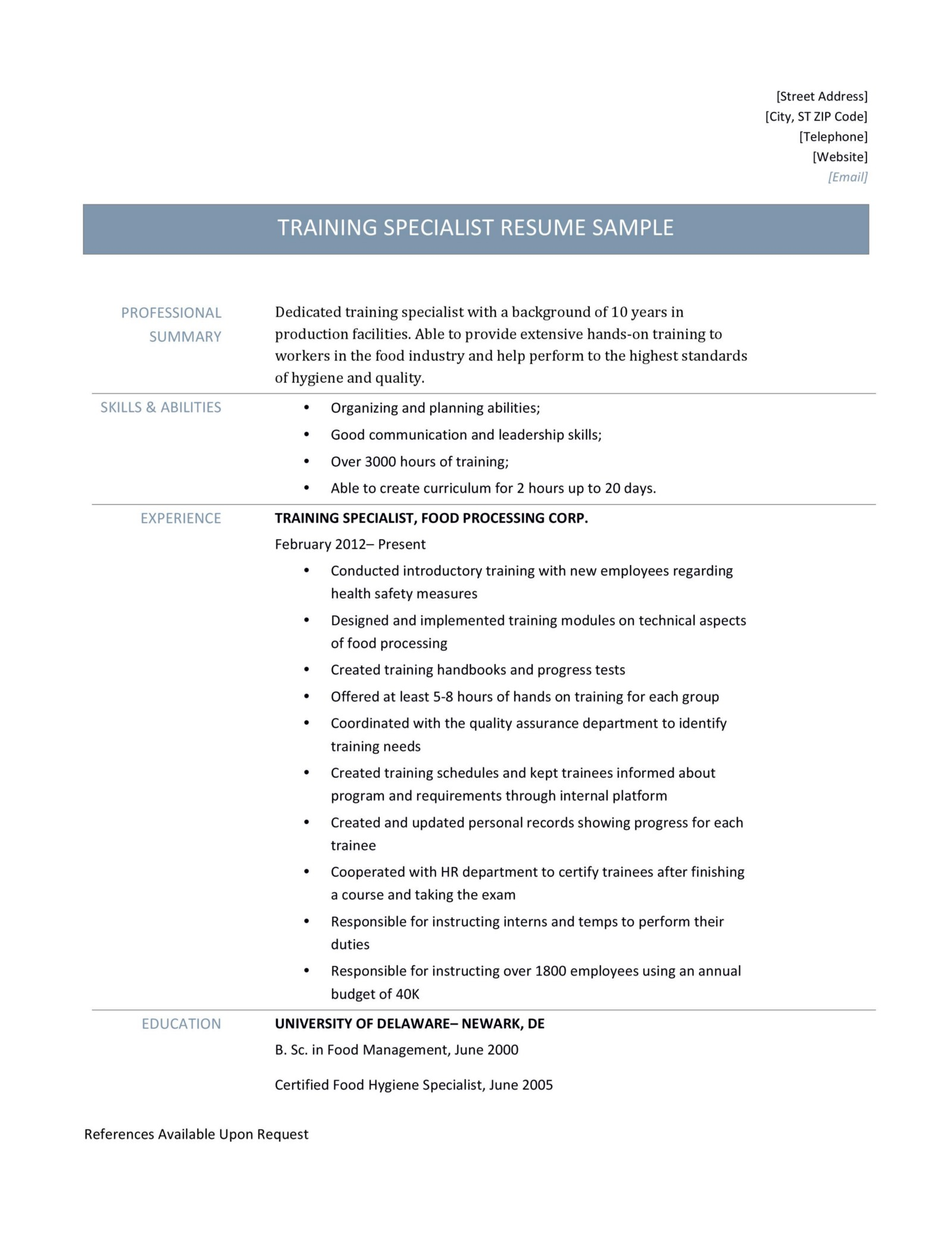 Training Specialist Resume Page 001