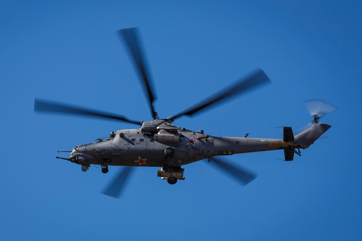 A Russian Mi-24 gunship during a training exercise. Russian Ministry of Defense photo