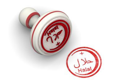 """Red seal and imprint """"HALAL"""" on white surface"""