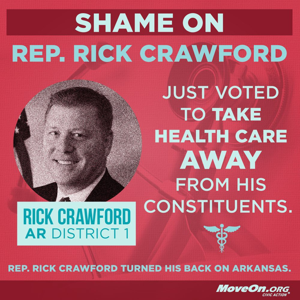 Help defeat #Trumpcare supporter #AR's @RepRickCrawford in 2018:  #LetUsLive