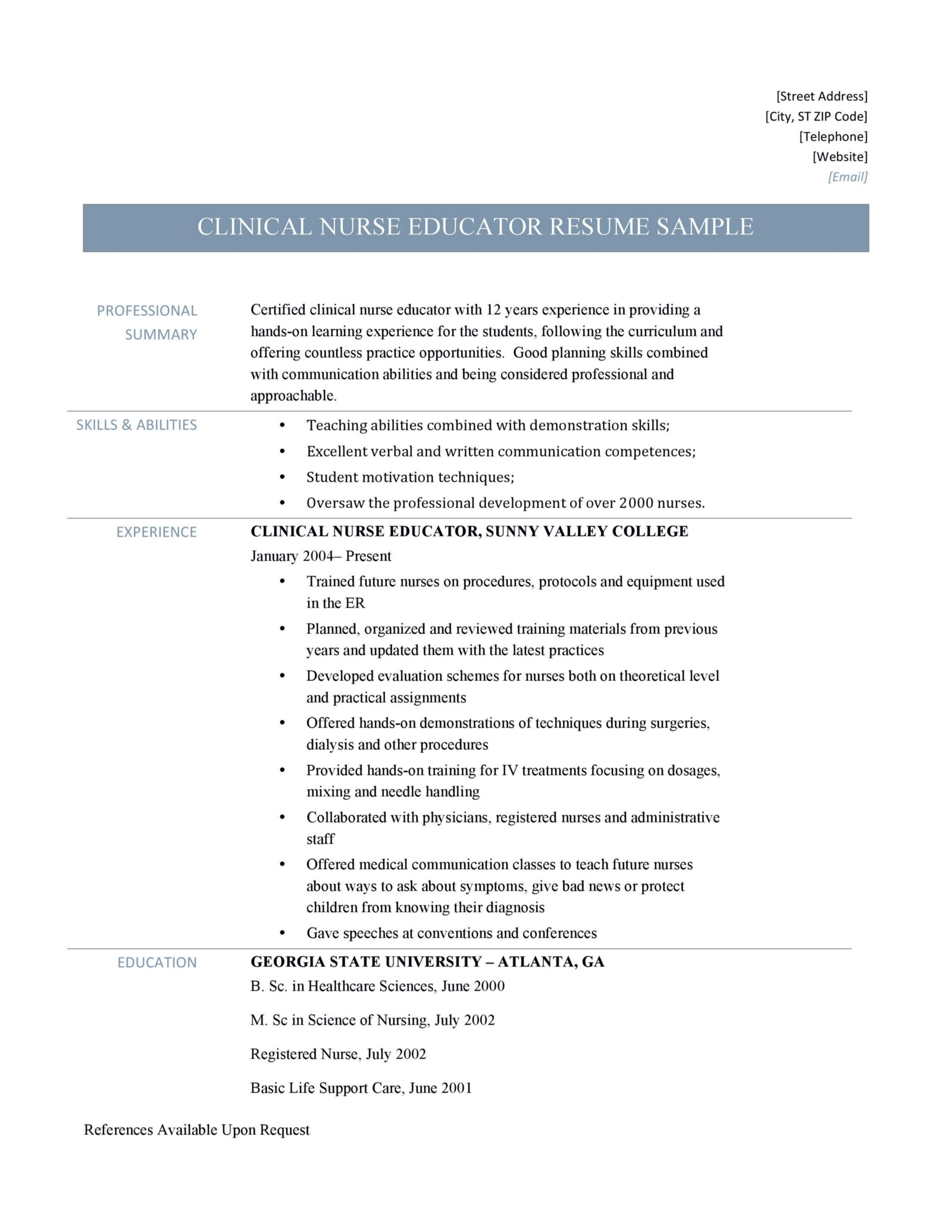 clinical nurse educator resume and template  u2013 online