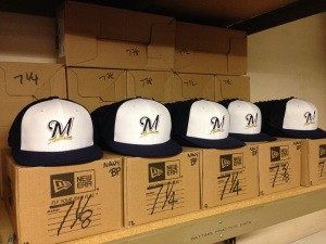 The New Batting Practice And Spring Training Hats Are Lined Up In Equipment Room At