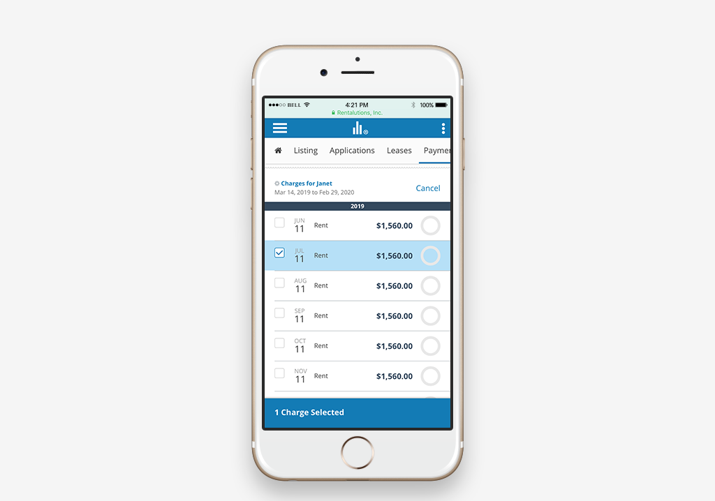 Mobile device featuring the all new Rentalutions payment interface