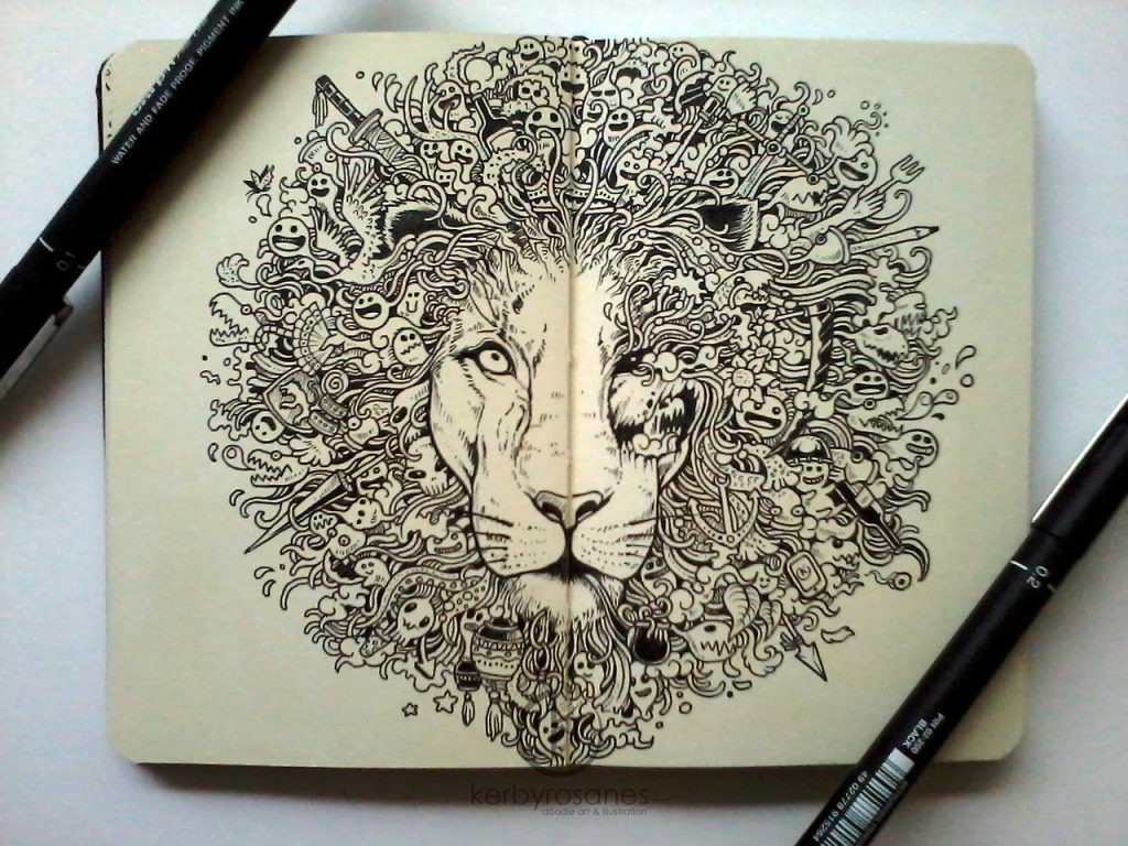 Moleskine Sketches, Lion by Kerby Rosanes