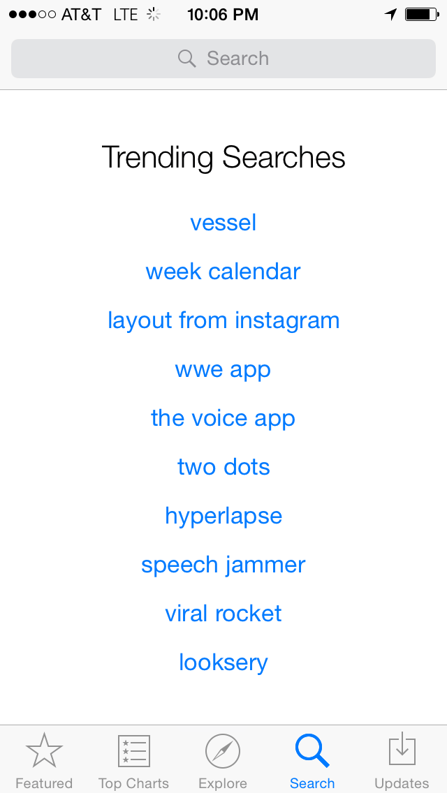 Vessel trending in the app store in March 2015