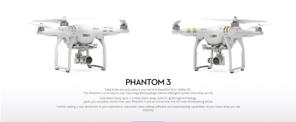 Newest Dji Phantom 3 Advanced/Professional Drone with Extra Battery