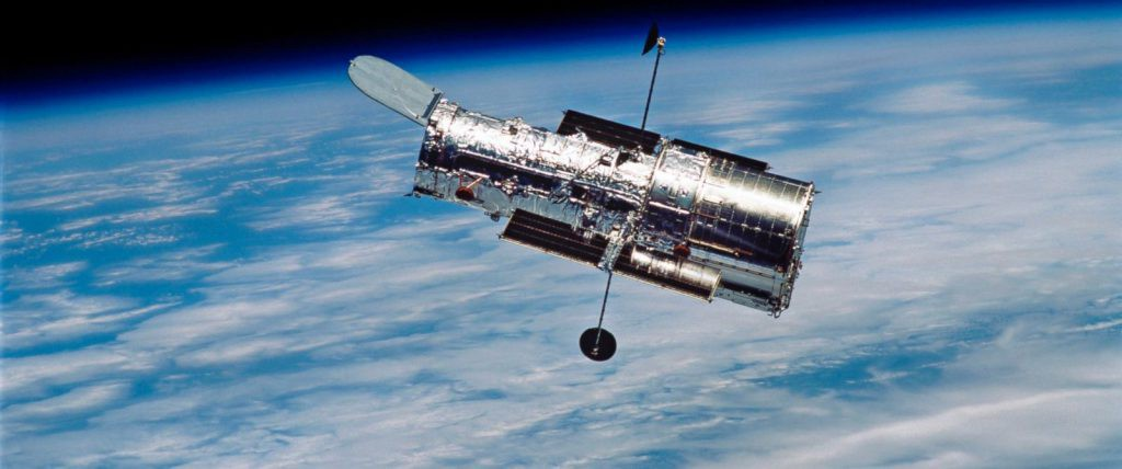 The Hubble Space Telescope in orbit around Earth.