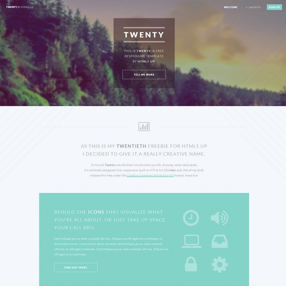 Free responsive html5 css3 website templates level up medium twenty html5 parallax template maxwellsz