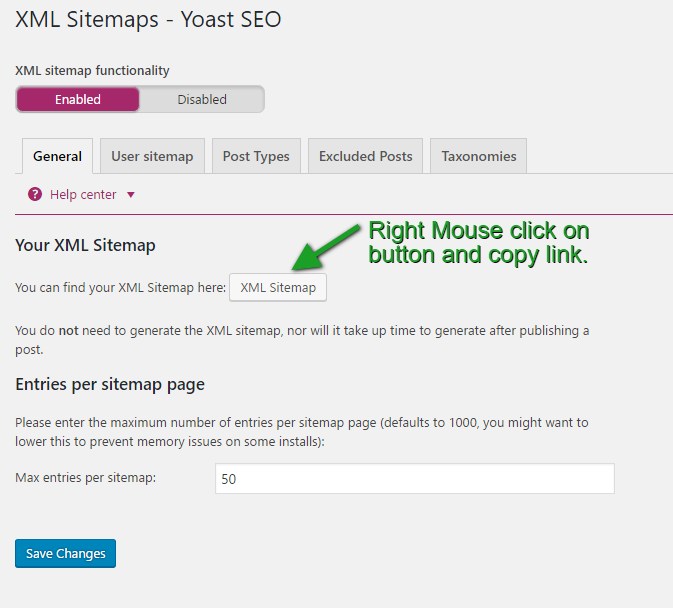 Copy Sitemap Link From URL