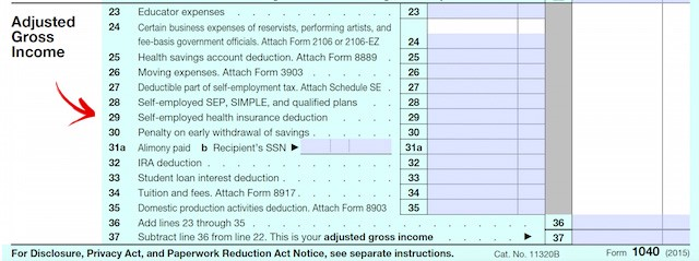Form 1040 Deduct Health Insurance Costs]