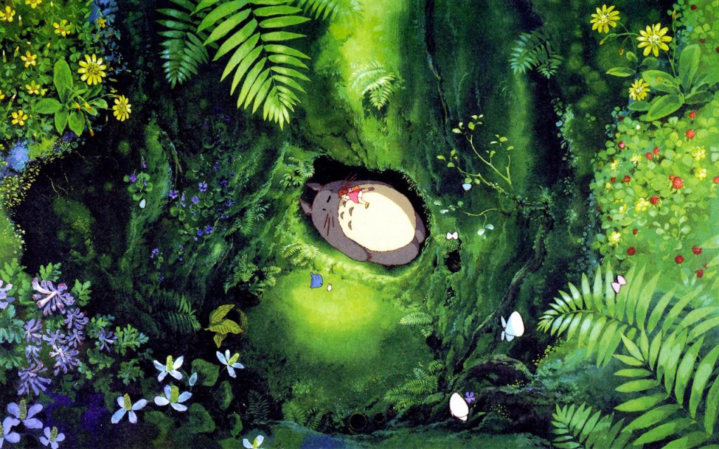 Totoro napping in a hollow with Mei