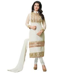 Saara Off-white Embroided Georgette Dress Material