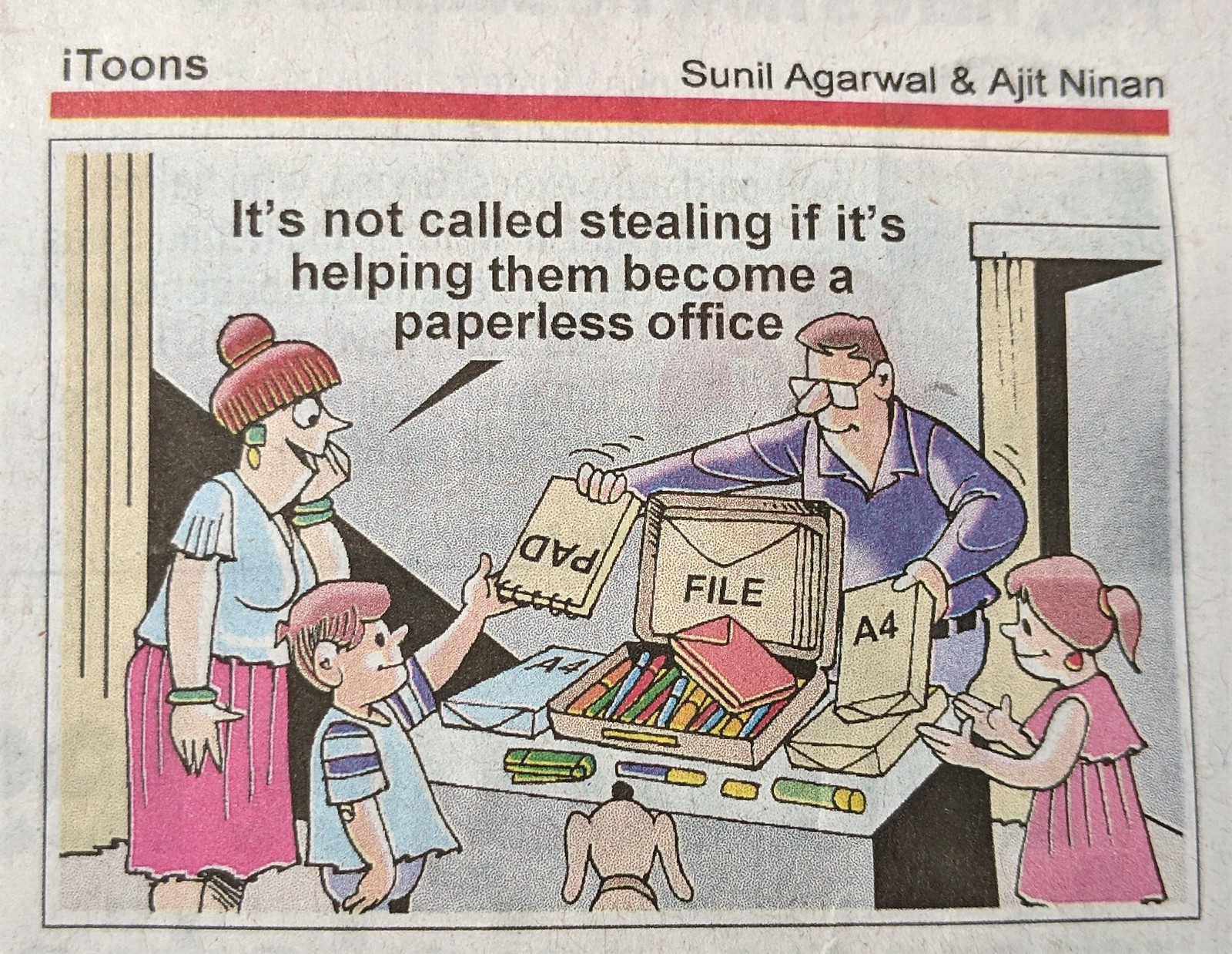 It's not called stealing if it's helping them become a paperless office by Sunil Agarwal and Ajit Ninan